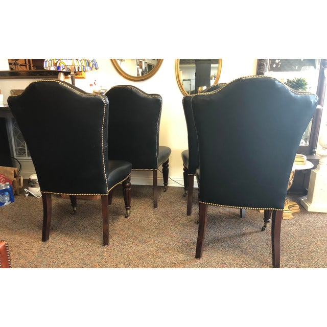Wood Vintage Henredon Leather Chairs-Set of 8 For Sale - Image 7 of 13