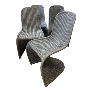 Blue Rattan Panton Style Chairs - Set of 4 For Sale