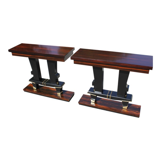Classic Pair of French Art Deco Exotic Macassar Ebony Console Tables, Circa 1940s For Sale