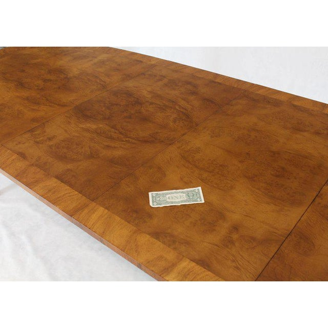 Oval Boat Shape Banded Burl Wood Dining Table With 2 Leaves Extensions For Sale - Image 10 of 12