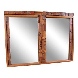 Lane Pueblo Mid-Century Modern Brutalist Double Mirror For Sale