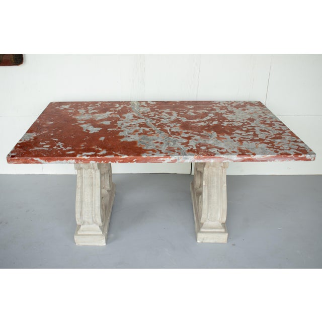 Vintage Mid Century French Marble-Top Center Table For Sale - Image 4 of 12