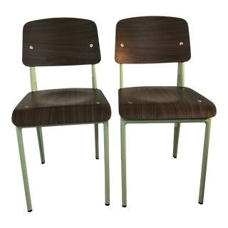 Modern Industry West Prouvé Style Dining Chairs - a Pair For Sale