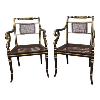 C 1980s Ebony & Gold Regency Style Caned Open Armchairs - A Pair