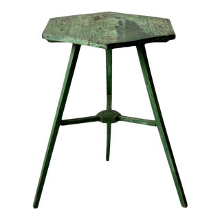 Antique Three-Legged Hexagon Accent Table For Sale