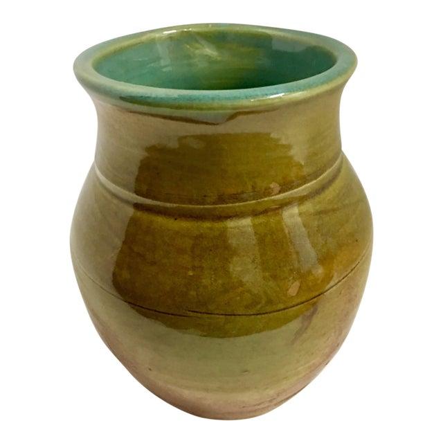 Vintage Ceramic Vase With Aqua Interior For Sale