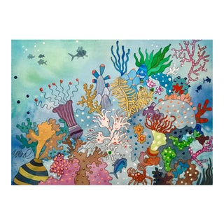 """Sunday at the Reef"" Watercolor Painting For Sale"
