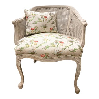 Vintage French Provincial/Paris Apartment/Cottage Caned Barrel Back Ladies Armchair For Sale