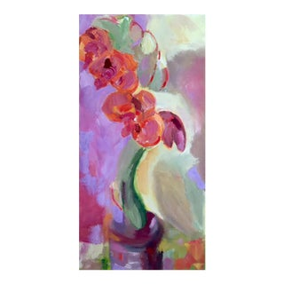 Abstract Orchid Oil Painting on Canvas