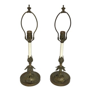 Cabbage Leaf Brass Table Lamps - a Pair For Sale