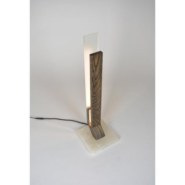 Bauhaus Offset - Oak Alabaster Base Led Table Lamp For Sale - Image 3 of 5