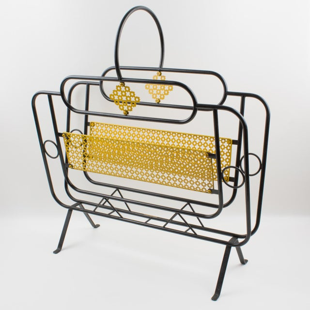 Mid-Century Modern Mathieu Mategot Style Metal Magazine Holder Rack For Sale - Image 3 of 13