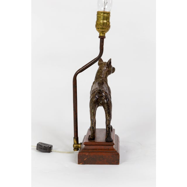 Shabby Chic Cast Bronze Dog Sculpture Lamp For Sale - Image 3 of 12