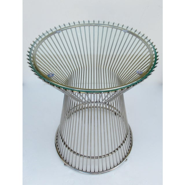 1980s Warren Platner-Style Polished Steel and Glass Round Accent, Side Table For Sale - Image 5 of 13