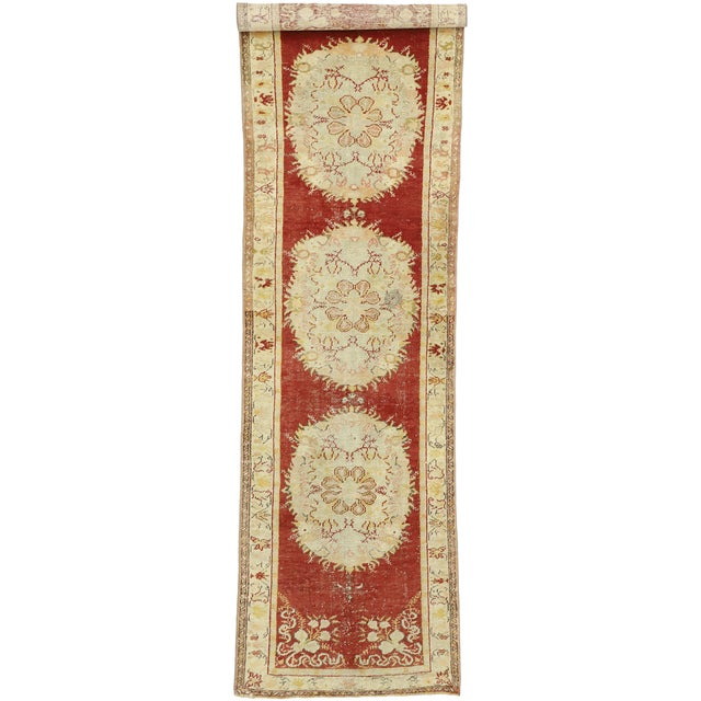 Vintage Turkish Oushak Runner - 03'03 X 11'05 For Sale - Image 9 of 10