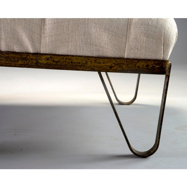 1930s Tufted Ottoman Bench Stool with Industrial Wheelbarrow Base For Sale - Image 11 of 13