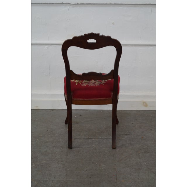 Antique Victorian Walnut Side Chair - Image 4 of 10