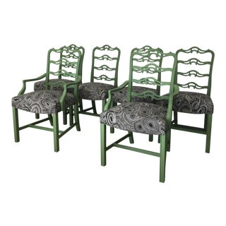 Green Chippendale Black Geode Upholstered Dining Chairs - Set of 6 For Sale
