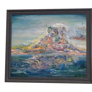 """""""Lucy in the Sky"""" Contemporary Abstract Expressionist Oil Painting by Nancy T. Van Ness, Framed For Sale"""