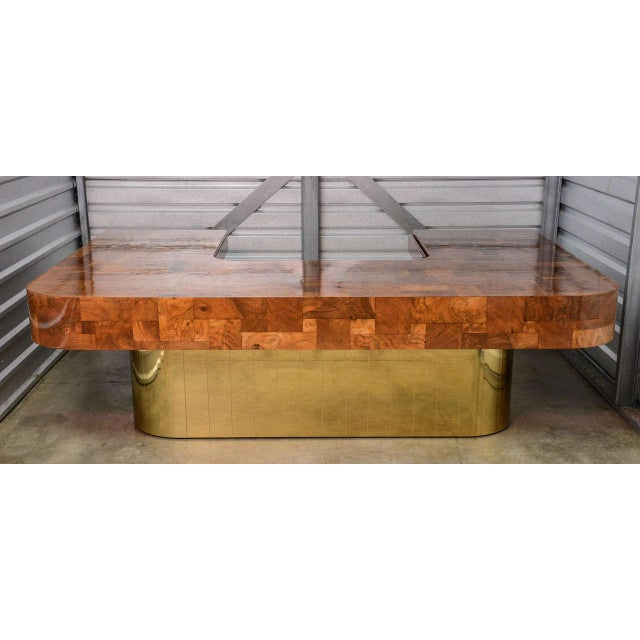 Mid-Century Modern Very Rare Brass Bottom Directional Cityscape Desk by Paul Evans For Sale - Image 3 of 10