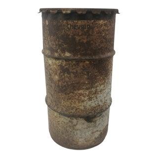 Vintage Industrial Metal Oil Barrel With Lid For Sale