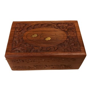 Carved Wood Box With Brass Inlay