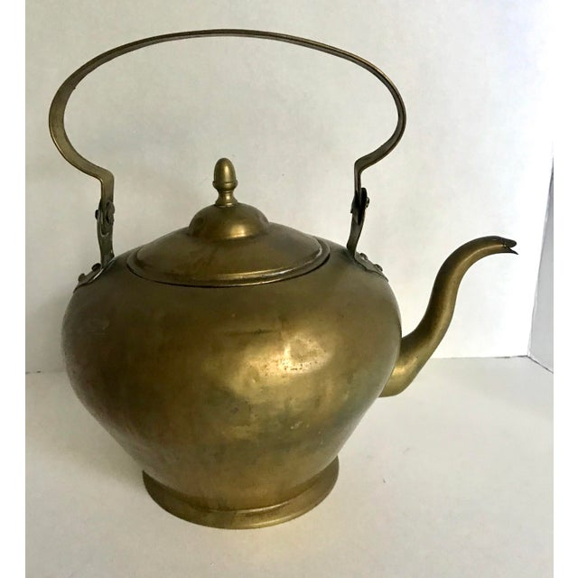 Islamic Antique Brass Handled Teapot For Sale - Image 3 of 7