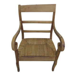 Antique Walnut & Wicker Chair For Sale
