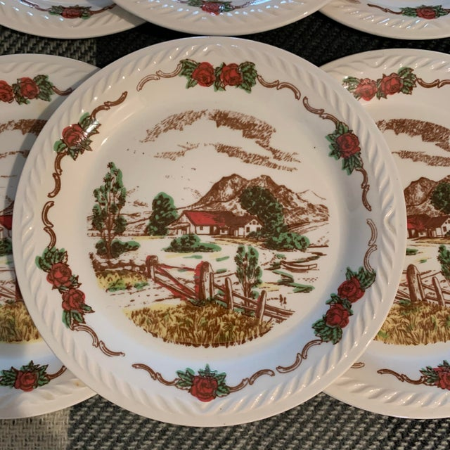 Fabulous set of Figgjo Flint small plates that were made in Norway. The plates feature a scene depicting a house and...