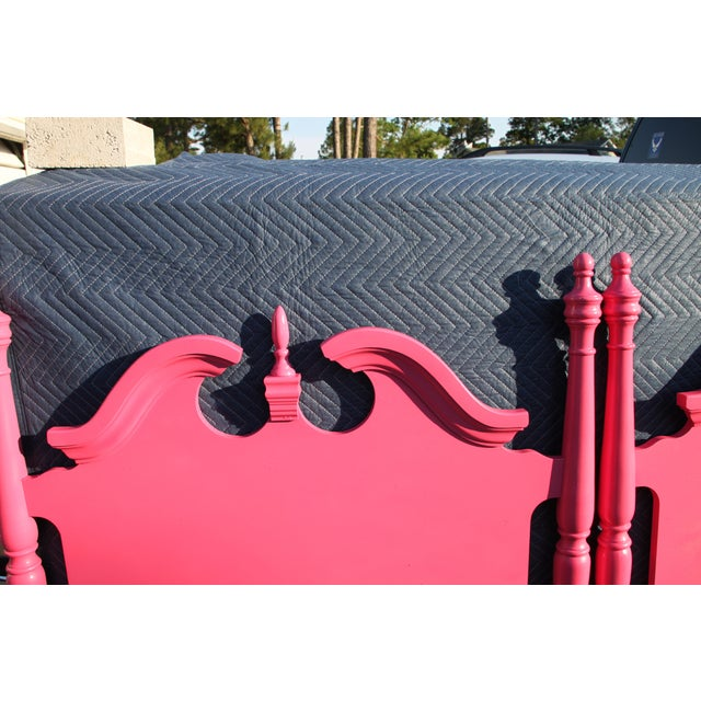 Hollywood Regency / Neo Classic / Geogian Glam Gloss Pink Twin Headboards - a Pair For Sale - Image 9 of 12