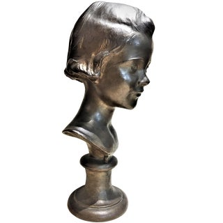 1920s Vintage Mabel Conkling Natalie American Art Deco Patinated Bronze Portrait Bust Sculpture For Sale