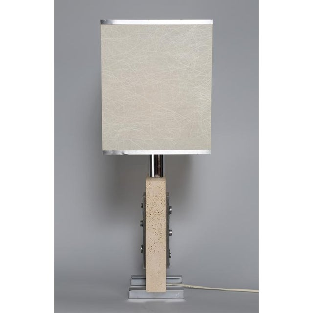Brutalist 1970's VINTAGE ITALIAN TRAVERTINE AND STEEL TABLE LAMP For Sale - Image 3 of 4