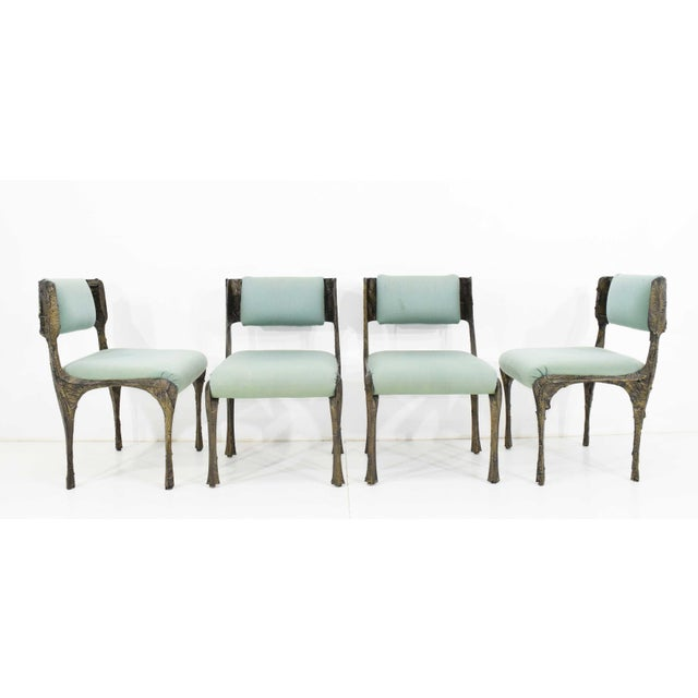 Paul Evans Set of Six Paul Evans Brutalist Sculpted Bronze and Resin Dining Chairs, 1972 - See Updated Listing W. New Upholstery For Sale - Image 4 of 11