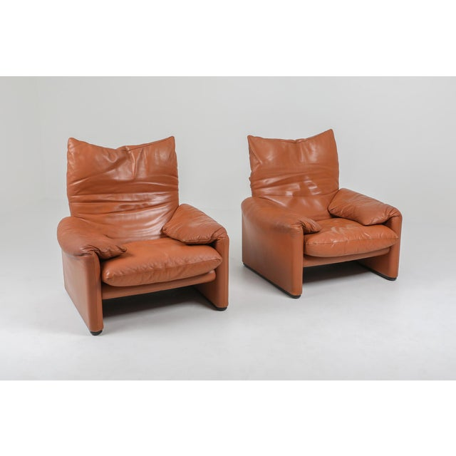 1970s Maralunga Cognac Leather Club Chairs by Vico Magistretti for Cassina - a Pair For Sale - Image 11 of 11
