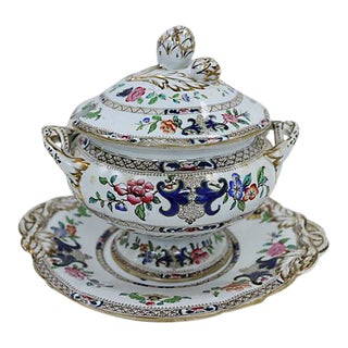 Antique Minton's Floral Tureen w/ Under Tray For Sale