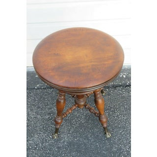 Late 19th Century Vintage Victorian Cherry Piano Bench Stool Preview