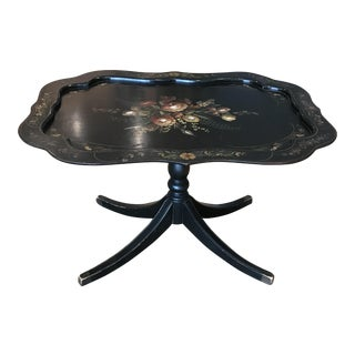 1960s Folk Art Tole Tilt Top Table With Inlaid Mother of Pearl For Sale