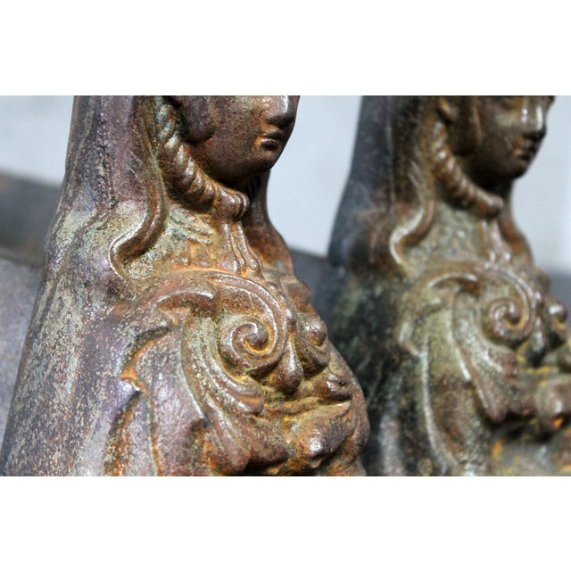 Antique French Cast Iron Female Figural Andirons or Firedogs - Pair For Sale - Image 9 of 11
