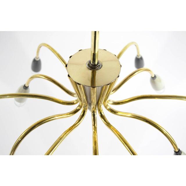 Gold Mid-Century Modern Brass Sputnik Chandelier For Sale - Image 8 of 9