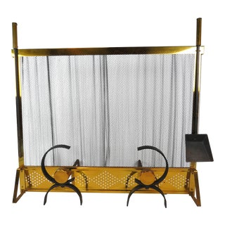 1950s Vintage Donald Deskey Mid-Century Modern Fireplace Set - 5 Pieces For Sale