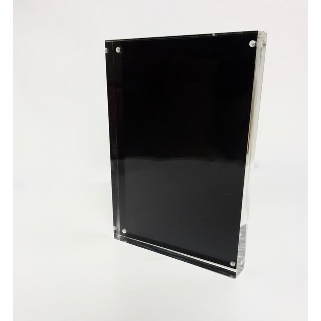 Black Metal & Lucite Standing Photo Frame - Image 2 of 4