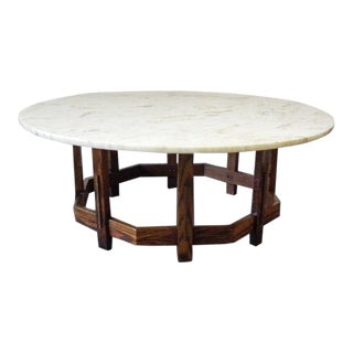 1960s Mid-Century Modern White Marble Coffee Table For Sale