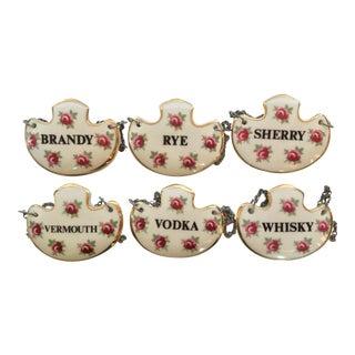 Vintage Royal Adderley Bone China Liquor Decanter Tags, England - Set of 6 For Sale