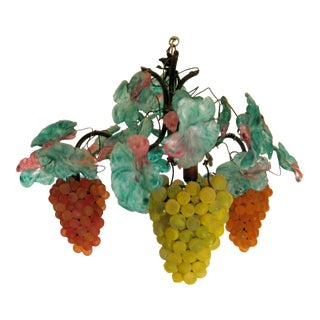 1920s Murano Glass Grape Cluster Chandelier For Sale