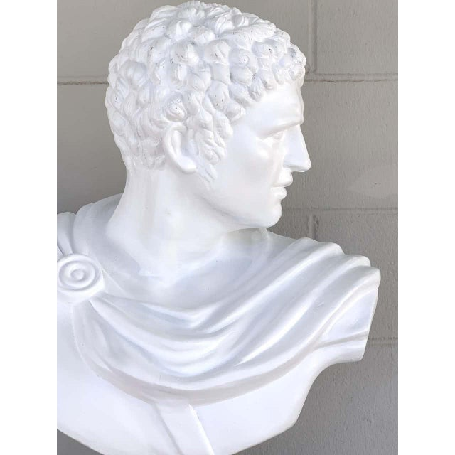 Grand Tour Italian White Lacquered Terracotta Bust of Apollo For Sale - Image 3 of 11