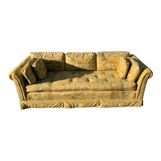 1950s Vintage Hickory Furniture Yellow Chinoiserie Sofa For Sale