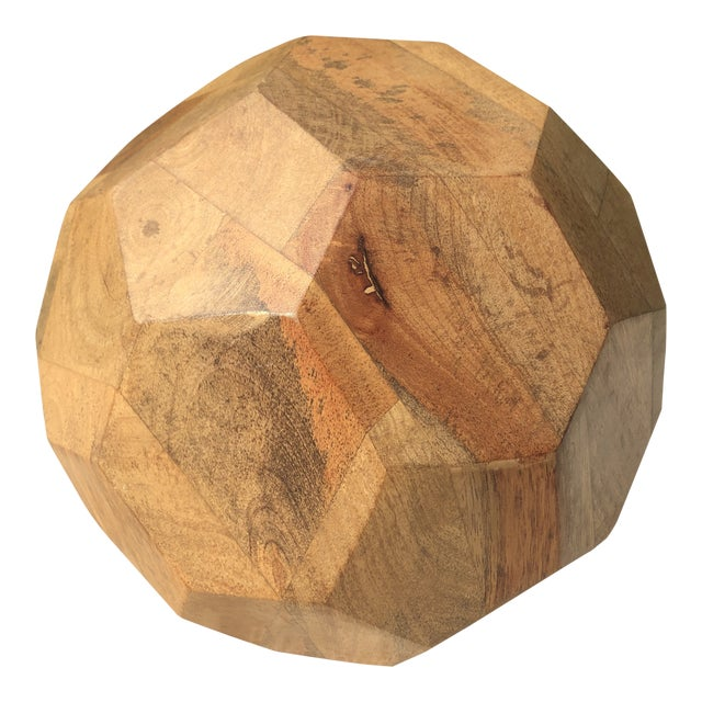 Modern Organic Faceted Geometric Wood Sculptural Orb For Sale