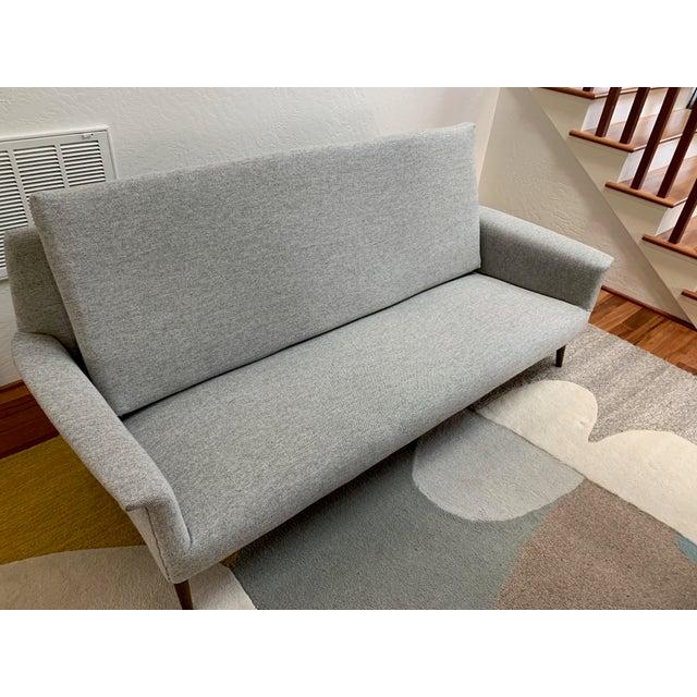 Light Gray Vintage Mid Century Modern Elegant Sofa For Sale - Image 8 of 13