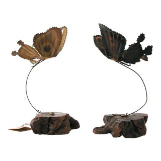 Brutalist Butterfly Sculpture - A Pair