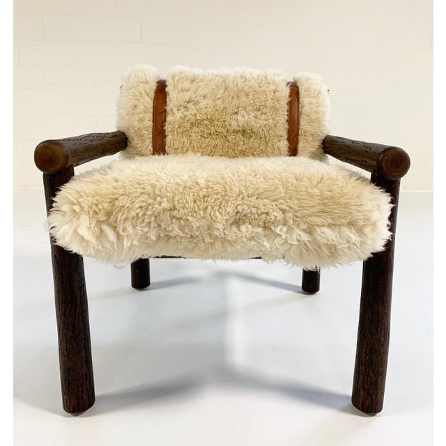 Animal Skin Forsyth X Old Hickory Butte Chair and Ottoman With Custom California Sheepskin Cushions and Loro Piana Buffalo Leather For Sale - Image 7 of 11